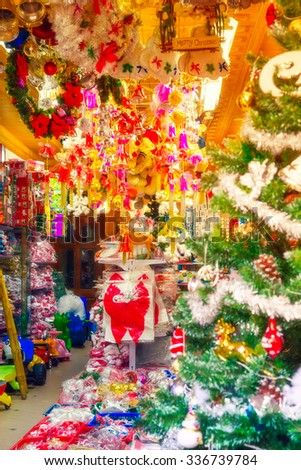 Decorating Christmas tree interior hotel, office