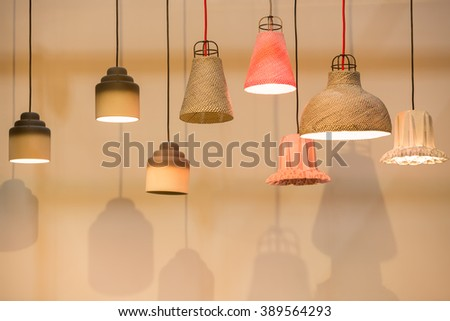 Decorating Lantern Lamps In Wooden Wicker And Clay Different Shape Color