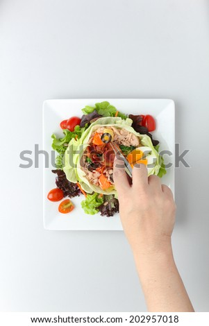 Decorating Tuna Nicoise Salad. - stock photo