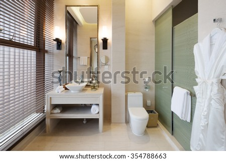 decoration and appliances of modern bathroom