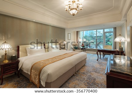 decoration and furniture in moder n bedroom - stock photo