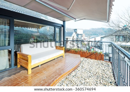 decoration and furniture in modern balcony - stock photo