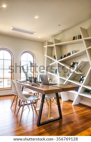 decoration and furniture in modern reading room - stock photo