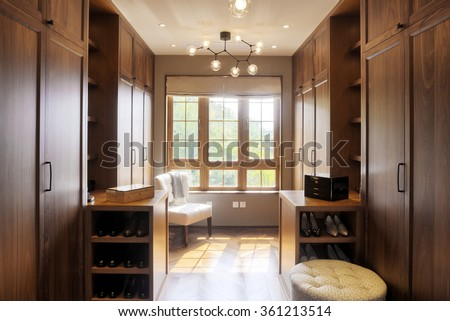 decoration and furniture in modern wardrobe - stock photo