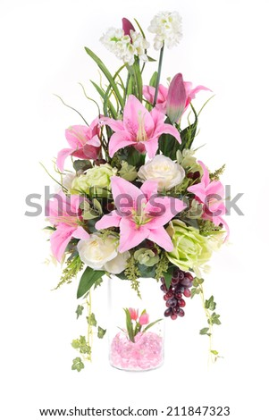 Decoration Artificial Plastic Flower Glass Vase Stock Photo Image