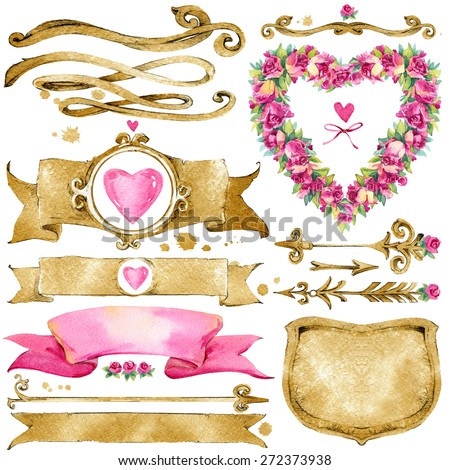 decoration elements for Wedding, Valentine's day, Birthday card. watercolor illustration - stock photo