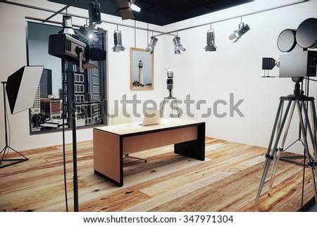 Decoration for movie filming with vintage cameras 3D Render - stock photo