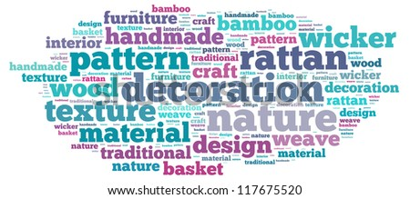 Decoration info-text graphics and arrangement concept on white background (word cloud)