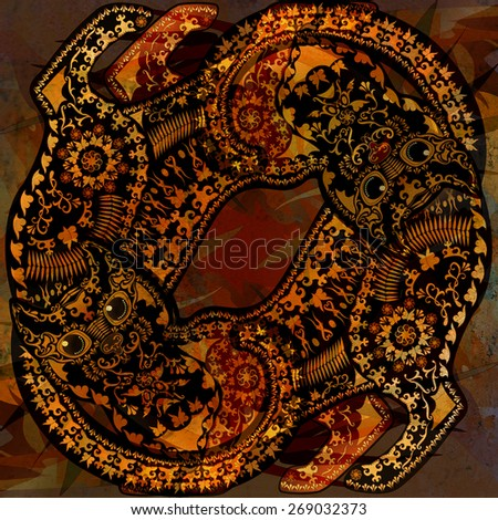 decoration motley animal pattern, floral fragments, tropical  motif