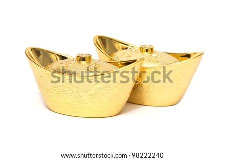 Decoration of chinese gold ingots  isolated on white background - stock photo