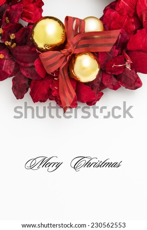 Decoration of Christmas balls and red ribbon