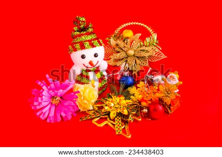 decoration of christmas on red background