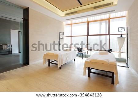 decoration of modern massage room - stock photo