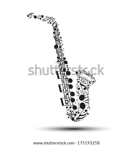 Decoration of musical notes in the shape of a saxophone - stock photo