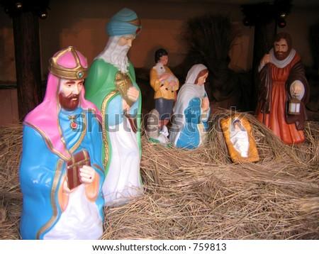 Decoration of nativity scene - stock photo