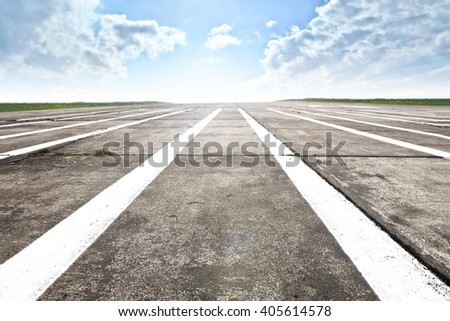 decoration of runway and plane space  - stock photo