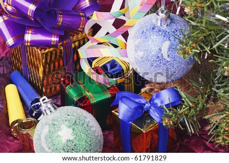 decoration of the balls on the Christmas tree and gifts