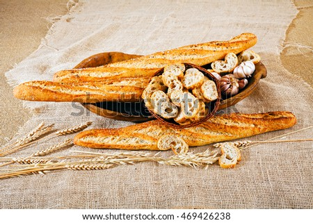 Decoration of the table with bread