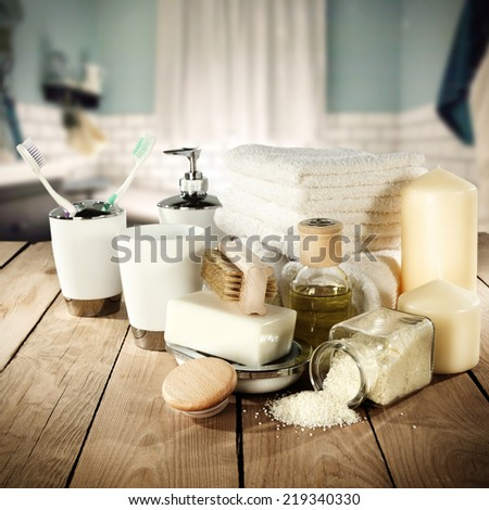 decoration of towels and cosmetics  - stock photo