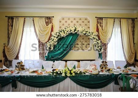 decoration of wedding table - stock photo
