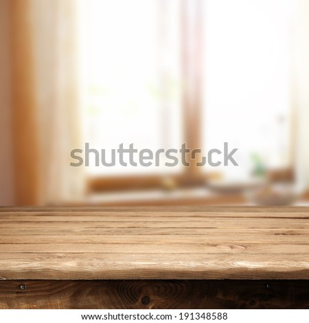 decoration of window and table of free space  - stock photo