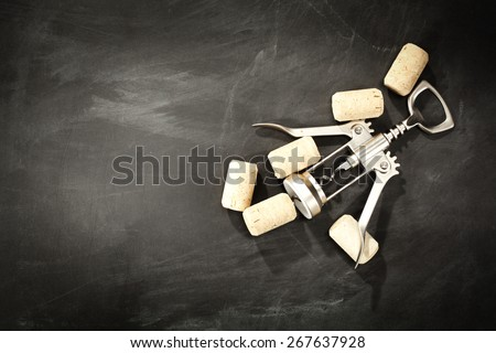 decoration of wine and black space  - stock photo