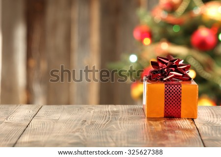 decoration of xmas time and wooden table  - stock photo
