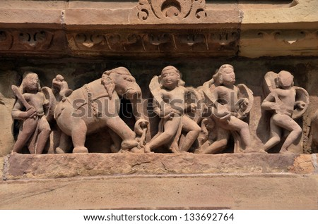 Decoration on Lakshmana Temple wall, Khajuraho, built between AD 930-950 - stock photo