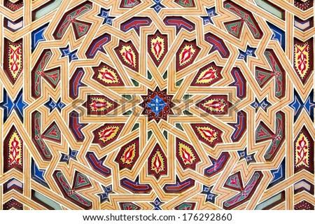 Decoration on oriental building, Morocco - stock photo
