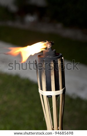 Decoration tiki oil torches burning outside