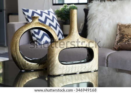 decoration vase on the table in living room - stock photo