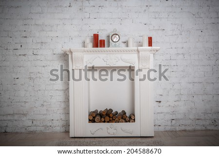decoration with fireplace in the room - stock photo