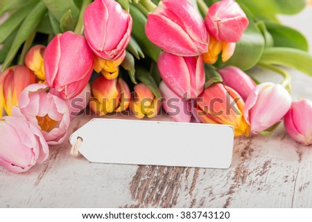 Decoration with tulips - stock photo