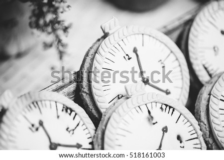 decoration with watches, time-management, design, abstract, shallow focus