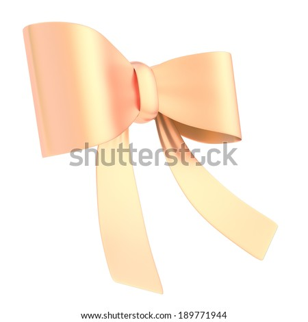 Decorational bronze metal glossy ribbon bow isolated over white background