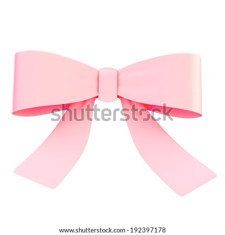 Decorational light pink glossy ribbon bow isolated over white background, front view - stock photo