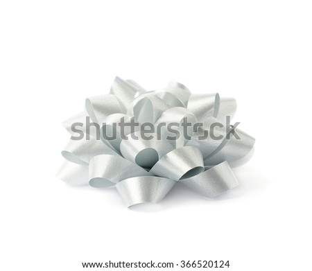 Decorational ribbon gift bow isolated - stock photo