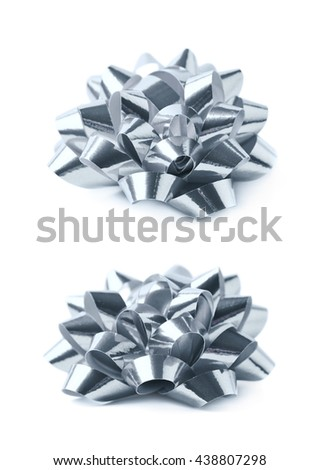 Decorational silver ribbon gift bow isolated over the white background, set collection of two diffirent foreshortenings - stock photo