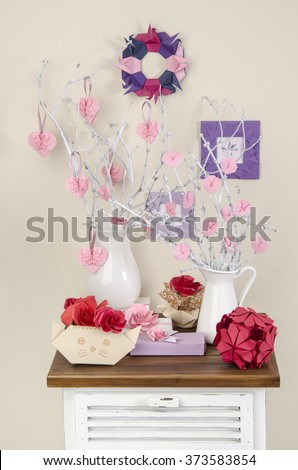 decorations for the house origami roses heart on the branches in vases