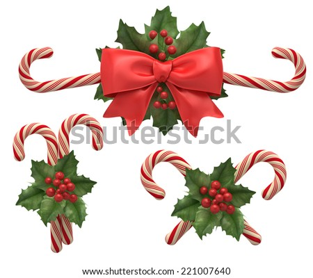 Decorations from cristmas candys with ribbon and holly berry. - stock photo