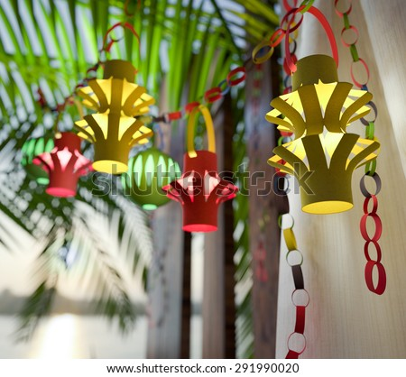 Decorations inside a Sukkah during the Jewish holiday celebration of Sukkoth - stock photo