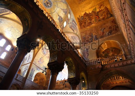 Decorations inside church in Venice - stock photo
