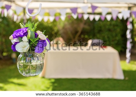 Decorations of flowers for the wedding ceremony. Close-up. - stock photo