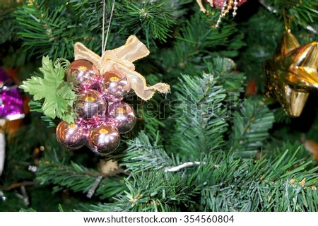 Decorations on Christmas tree
