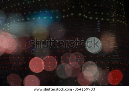 Decorations on the Christmas lights and the general pattern in sparkling blurred background