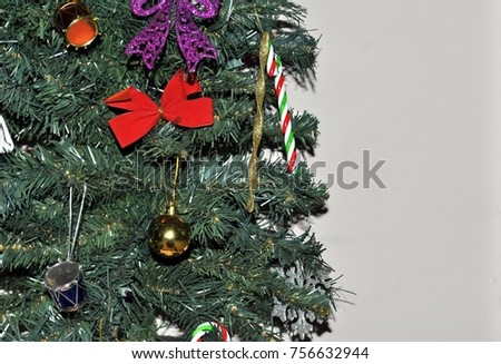 decorations on the Christmas tree close-up