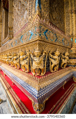 decorations on the temple of Grand Palace in Bangkok
