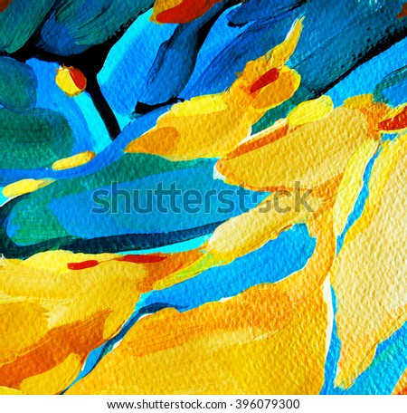 decorative abstract painting, illustration , water-colour - stock photo