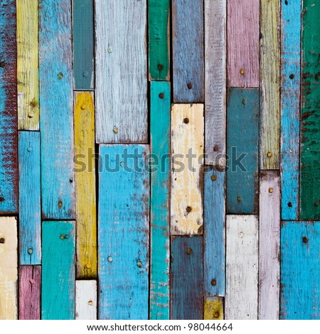 Decorative and colorful wood wall - stock photo