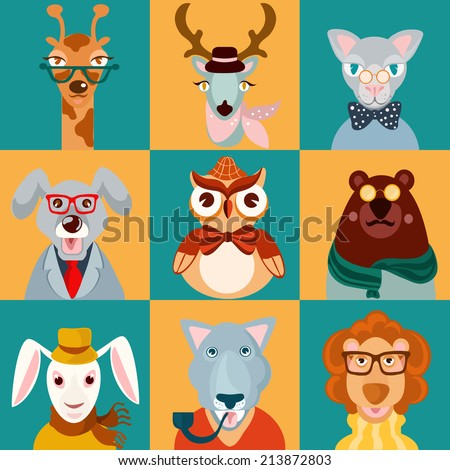 Decorative animal hipsters icons set cat bear owl lion isolated  illustration